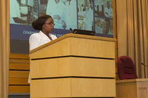 NMMU pharmacy technician student Andiswa Hlanjwa speaks about her externship experience at a community pharmacy during a university event.